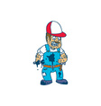 Mechanic Hold Spanner Wrench Cartoon vector image vector image