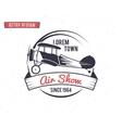 Airshow stamp Biplane label Retro Airplane vector image