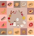 Template with different kinds of pastry Sweet vector image