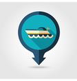 Ship Boat pin map flat icon Summer Vacation vector image