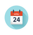 april 24 flat daily calendar icon date vector image