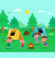 camping kids vector image