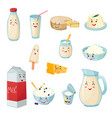 milk products with smiles cartoon set vector image