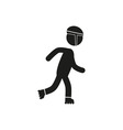 Roller skating icon stick figure vector image