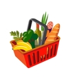 shopping basket with fresh food vector image