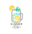 summer menu logo badge for restaurant cafe and vector image