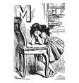 Alphabet m mourned for it vintage vector image