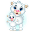 cute polar bear with her son vector image vector image