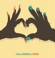 Monster hands make heart shape vector image