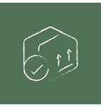 Box with two arrows icon drawn in chalk vector image