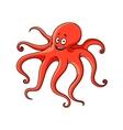 Cartoon red ocean octopus character vector image vector image