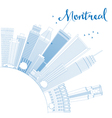 Outline Montreal skyline with blue buildings vector image vector image