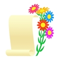Bouquet of flowers and a scroll vector image