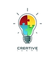 Light bulb icon with jigsaw puzzle pieces inside vector image vector image