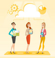 business women and cloud computing technologies vector image