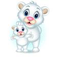 cute polar bear with her son vector image