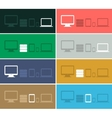 Flat design ui device icons collections on colored vector image
