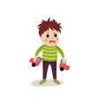 frustrated kid boy flat character holding broken vector image