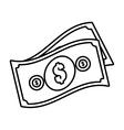 money bills cash dollar design outline vector image