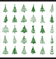 set hand-drawn sketch christmas and new year tree vector image