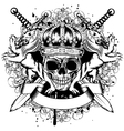 Skull in crown lions and crossed swords vector image