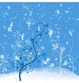 Grunge flower blue vector image