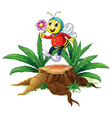 A wood with a bee holding a flower vector image