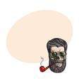 human skull with hipster beard wearing aviator vector image