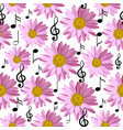 seamless pattern with music notes and pink daisies vector image vector image