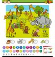 calculating animals cartoon game vector image