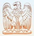 drawing of heraldic sculpture eagle in Rome Italy vector image