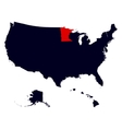 Minnesota State in the United States map vector image