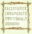 Alphabet made of twigs wooden fonts i vector image