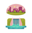 flat hydro power station green city vector image