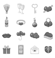 Saint Valentine day icons set monochrome style vector image