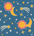 seamless pattern with moon sun and stars vector image