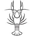 Silhouette crayfish vector image