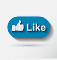 thumb up applique icon flat style vector image