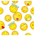 Types of emoticons pattern cartoon style vector image