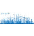 outline saudi arabia skyline with blue landmarks vector image