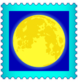 Moon on postage stamp vector image vector image