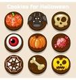Cartoon funny Chocolate Halloween Cookies vector image