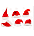 Big collection of red santa hats vector image
