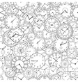doodle clock hand drawn background vector image