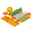 isometric autumn city park landscape concept vector image