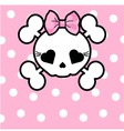 cute skull with bow vector image vector image