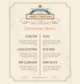 Christmas food menu retro typography and ornament vector image
