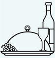 Bottles and glasses of wine on round tray vector image vector image