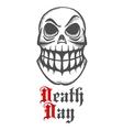 Smirking skull with raised eyebrow and large teeth vector image vector image