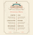 Christmas food menu retro typography and ornament vector image